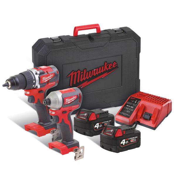 Milwaukee M18 CBLPP2A 402C 18V Li Ion accu klopboor schroefmachine (M18 CBLPD 0) Slagschroevendraaier (M18 CBLID 0) Combiset (2x 4,0Ah accu) in koffer