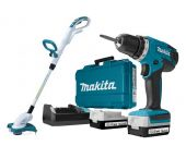 Makita DF347DWE + UR140DZ 14.4V Li-Ion accu boor-/schroefmachine set (2x 1.5Ah accu) in koffer + Trimmer