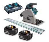 Makita DSP600PT2J1 36V (2x 18V) Li-Ion accu Invalzaag set (2x 5,0Ah accu) in Mbox incl. geleiderail - 165 x 20 mm - koolborstelloos