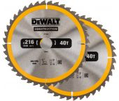 DeWALT DT1953 Duopack Construction Cirkelzaagblad - 216 x 30 x 40T - Hout (Met nagels)