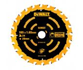 DeWalt DT10624 Extreme Cirkelzaagblad - 165 x 20 x 24T - Hout (Met Nagels) - DT10624-QZ