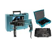 Makita HR2470 SET SDS-plus Combihamer in koffer - 780W - 2,4J + B-52059 / B-53877 17 delige SDS-plus boor / beitel set in Mbox