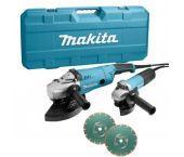Makita DK0054X1 Haakse slijper combiset (GA9020R / 9558NB) + 2 diamantschijven in koffer - 2200W / 840W - 230 x 125mm