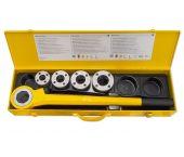 "Rems Eva Set R 1/2 - 1 1/4"" Handdraadsnij-ijzer met snelwisselsnijkoppen 1/2-3/4-1-1 1/4"" in stalen koffer - 520015"