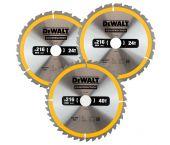 DeWalt DT1962 3-delige Construction Cirkelzaagbladen set - 216 x 30 x 24T / 40T - Hout (Met nagels) - DT1962-QZ