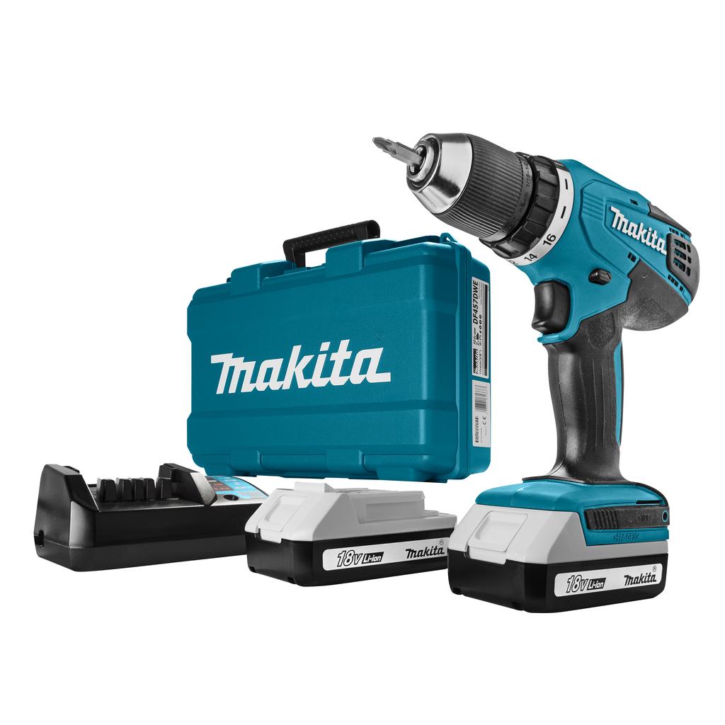 Makita DF457DWE 18V Li-Ion accu boor-/schroefmachine set (2x 1.3Ah accu) in koffer