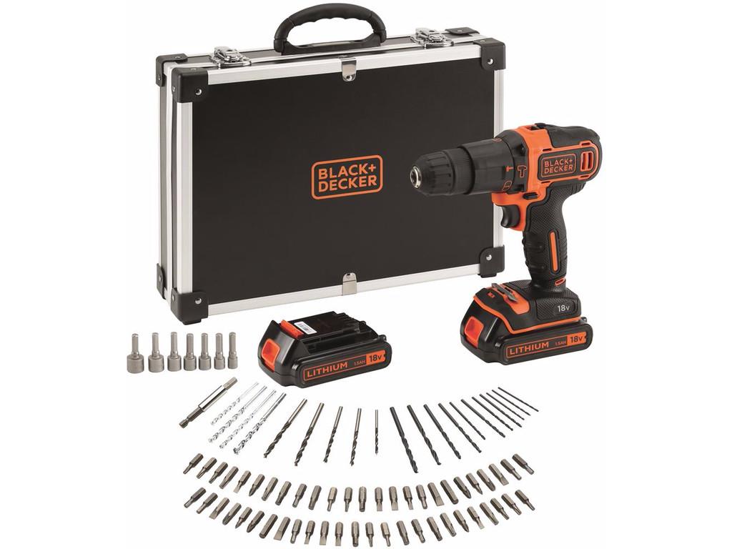 Black+Decker BDCHD18BAFC 18V Li-Ion accu klopboor-/schroefmachine set (2x 1.5Ah accu) in koffer + 80-delige accessoireset
